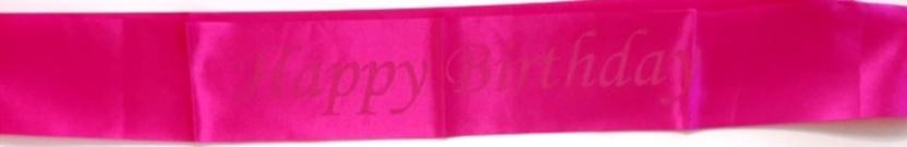 Happy Birthday vállszalag, pink