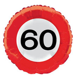 Évszámos fólia lufi 60. közlekedési tábla