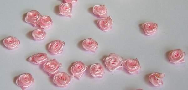szatén rózsafej 1,2 cm, rózsaszín (100db)