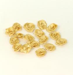 szatén rózsafej 1,2 cm, arany (100 db)