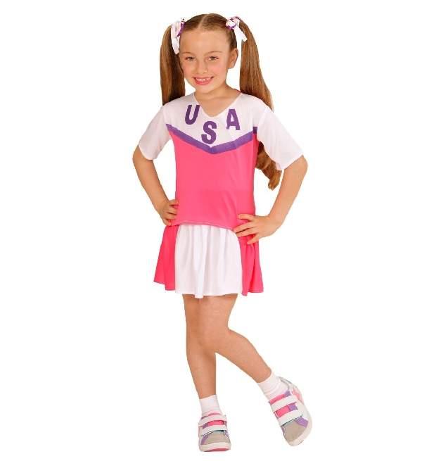 pom-pom lány gyerek farsangi jelmez pink-fehér(140 méret)