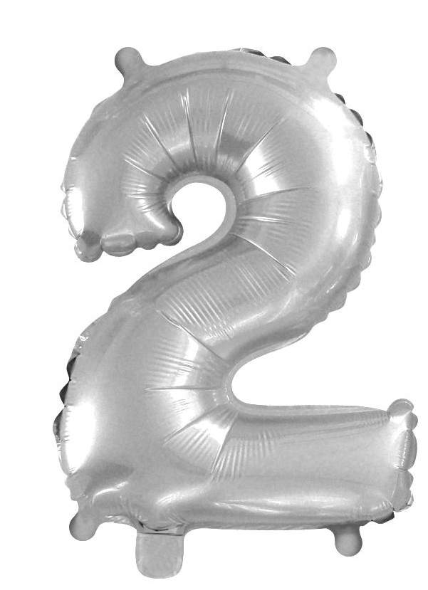 2. szám fólia lufi (35 cm), ezüst