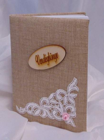 vintage esküvői vendégkönyv csipke dísszel (A/5, sima, 70 lapos)