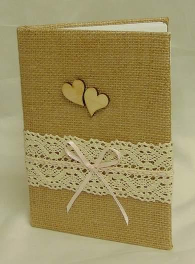 vintage esküvői vendégkönyv dupla szívvel (A/5, sima, 70 lapos)   - </b>JELENLEG NINCS KÉSZLETEN !