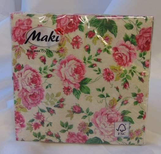 szalvéta vintage rózsás  (33*33 )-20 db