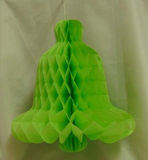 élénkzöld papír harang 33 cm