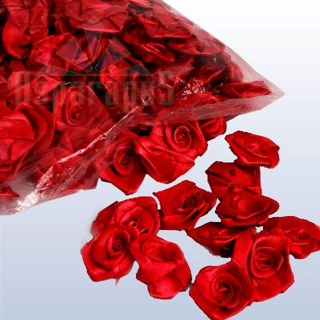 szatén rózsafej 2,5 cm-es (50 db) piros