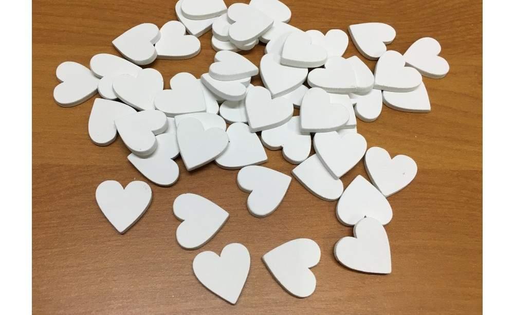 fa szív fehér, 2 cm-s (50 db)