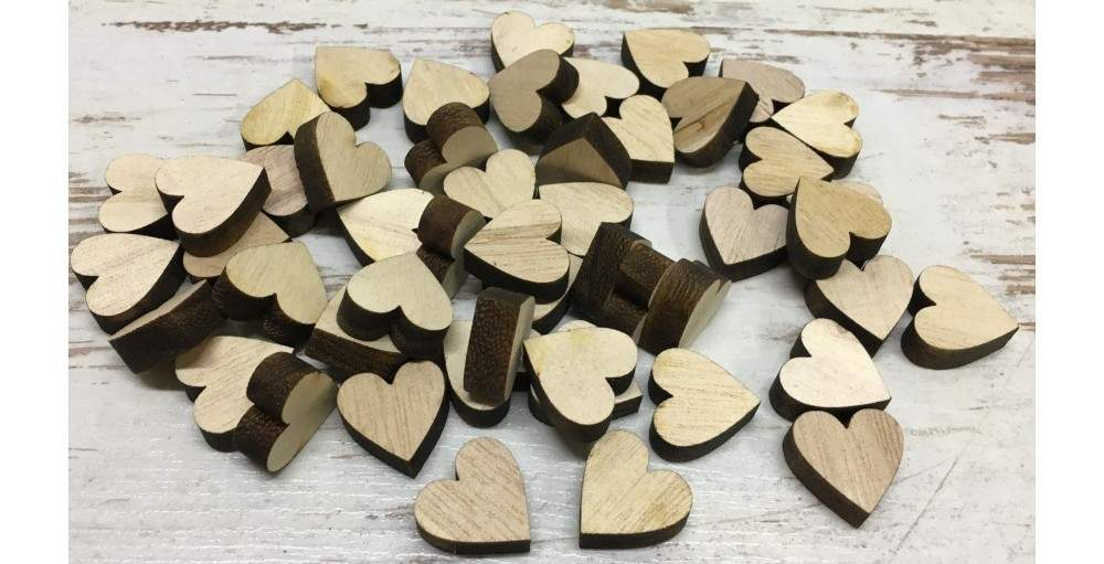 fa szív natúr, 2 cm-s (50 db)