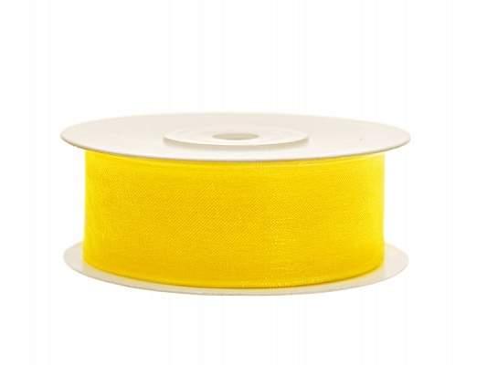 organza szalag 2,5 cm x 22,86 m, sárga (084)