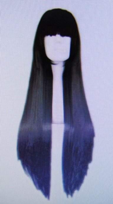 paróka hosszú, fekete (80 cm)-(59-72)