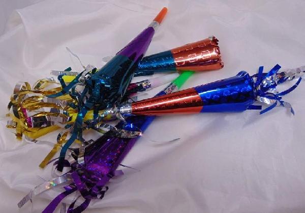 hologramos trombita, rojtos, színes, 20 cm (5 db)
