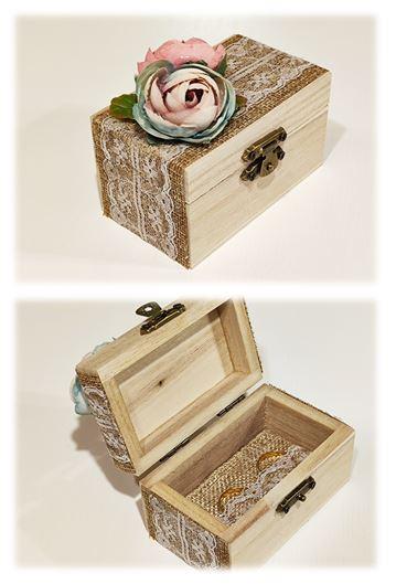 vintage esküvői gyűrűtartó dobozka, virágos-(9*6*5 cm)