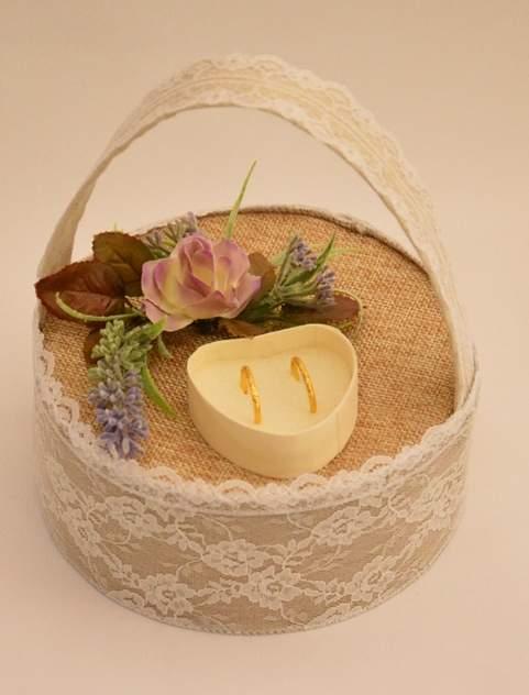 vintage esküvői gyűrűtaró kosárka (15 cm) , vintage