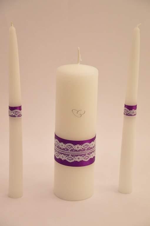 esküvői gyertyaszett 3 részes,lila csipkés