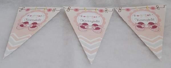 Zászlógirland keresztelőre, rózsaszín (8 db zászló+4 m szalag)
