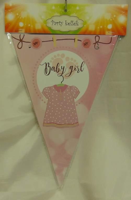 Zászlógirland babaszületésre, rózsaszín (8 db zászló+4 m szalag)