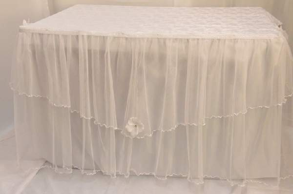 főasztal dísz tüll, fehér (140 x 75 cm)