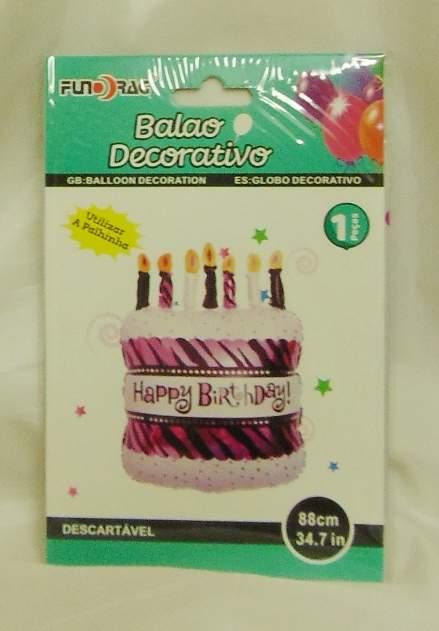 Happy birthday torta fólia lufi, 88 cm-(219348)