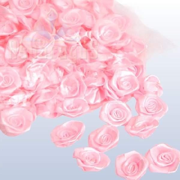 szatén rózsafej 2,5 cm-es (50 db) rózsaszín