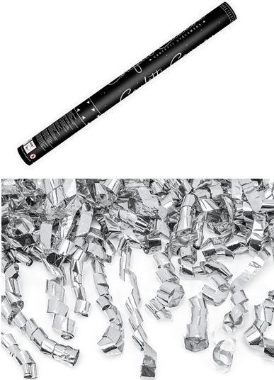 Konfetti ágyú ezüst szerpentinnel (60 cm)-TUKASZ