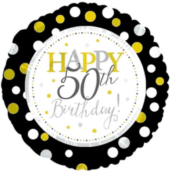 50. évszámos születésnapi fólia lufi (45 cm) fekete-arany