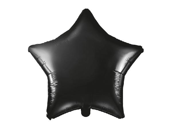 Csillag fólia lufi fekete (45 cm)