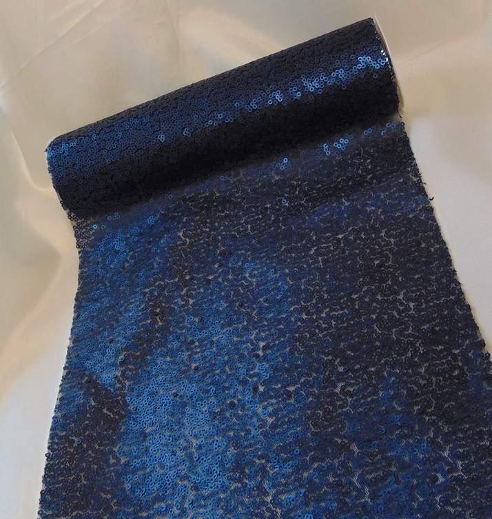 Flitteres dekoranyag (25 cm * 3 m), sötétkék-654
