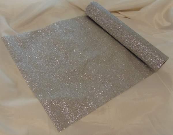glitteres dekoranyag (28 cm * 5 m), ezüst-102