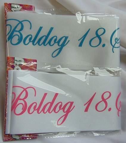 Boldog 18. születésnapot ! vállszalag ( kék vagy rózsaszín színben)