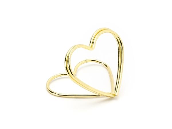 ültetőkártya tartó, arany szív (10 db)