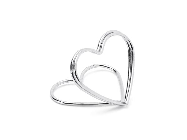 ültetőkártya tartó, ezüst szív (10 db)