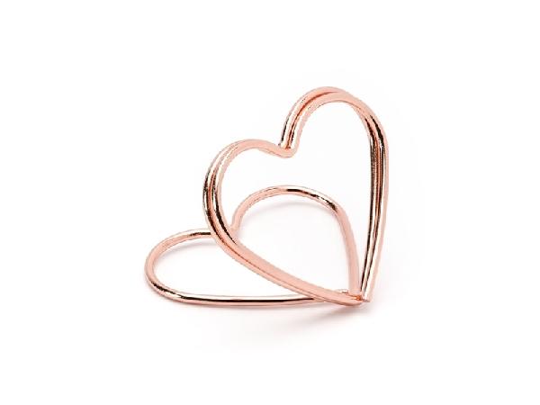 ültetőkártya tartó, rose gold szív (10 db)