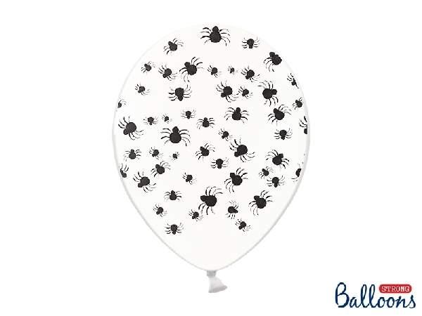 Halloween lufi átlátszó, fekete pókokkal(10 db)