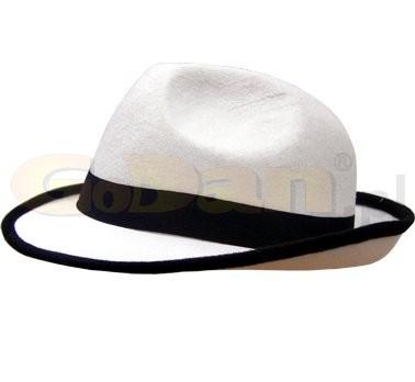 Fehér, textil gengszter kalap (Jackson kalap), fekete szalaggal(H-12278-1)