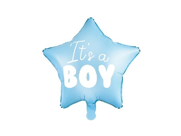 Fólia lufi babaszületésre, csillag alakú , kisfiú (45 cm)