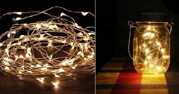 LED fényfüzér meleg fényű, 2 m (20 db led)- elemes