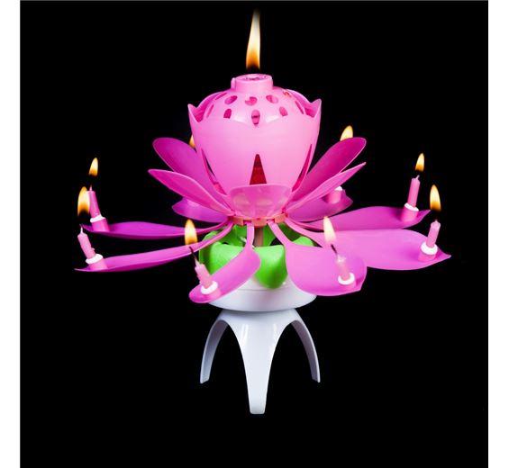 zenélő, forgó virág gyertya (rózsaszín, lila, kék és zöld színben)