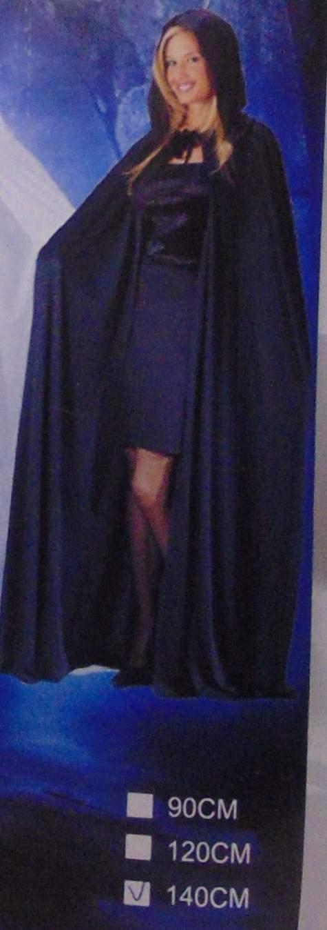 Fekete, kapucnis köpeny (140 cm)