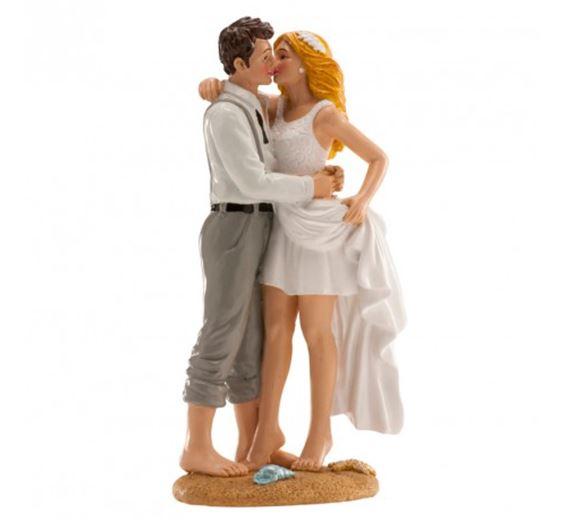 Nászpár tortadísz, tengerpartos (16 cm)-305226
