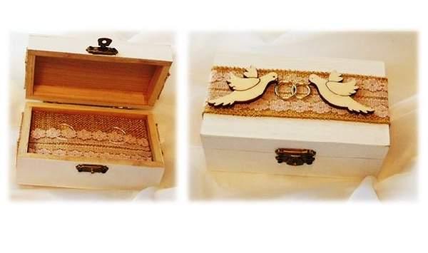 vintage esküvői gyűrűtartó dobozka (12*7*5 cm), galambos