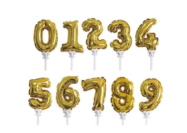 önfelfújós fólia szám lufi pálcával, arany