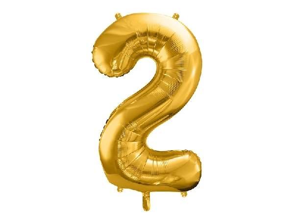 """óriás szám fólia léggömb """"2"""", arany"""