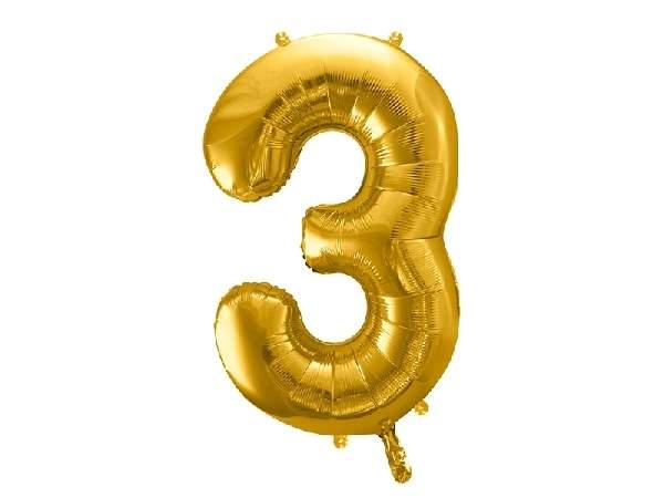 """óriás szám fólia léggömb """"3"""", arany"""