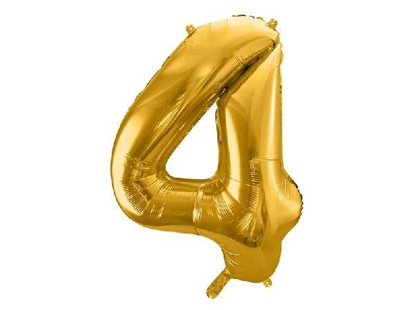 """óriás szám fólia léggömb """"4"""", arany"""