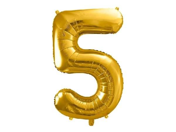 """óriás szám fólia léggömb """"5"""", arany"""