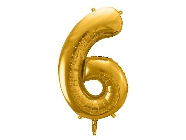 """óriás szám fólia léggömb """"6"""", arany"""