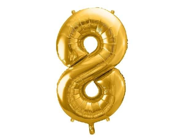 """óriás szám fólia léggömb """"8"""", arany"""