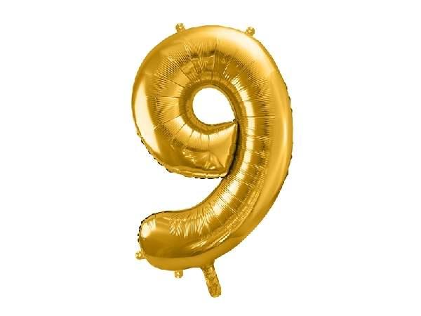"""óriás szám fólia léggömb """"9"""", arany"""
