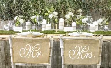 Juta széktámla dísz, Mr. és Mrs. felirattal-(ZNK3)